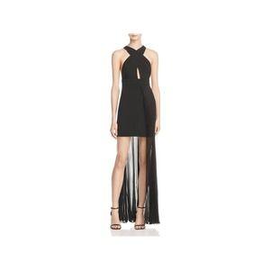 AQ/AQ Ailla Black Pleated Sheer Overlay Dress